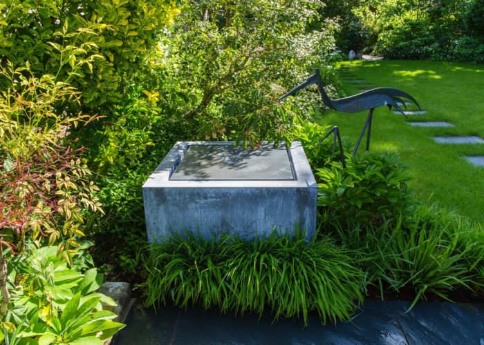 Raised Stone Cube Garden Water Feature